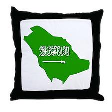 Saudi Arabia Flag Map Throw Pillow