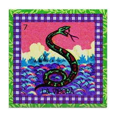 Vintage Loteria Rattlesnake Tile Coaster