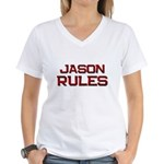 jason rules Women's V-Neck T-Shirt