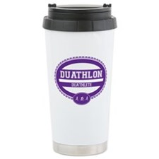 Duathlon Purple Oval-Women's Duathlete Travel Mug