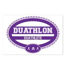 Duathlon Purple Oval-Women's Duathlete Postcards (