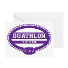 Duathlon Purple Oval-Women's Duathlete Greeting Ca