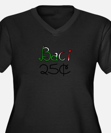 Baci 25 Cents Women's Plus Size V-Neck Dark T-Shir