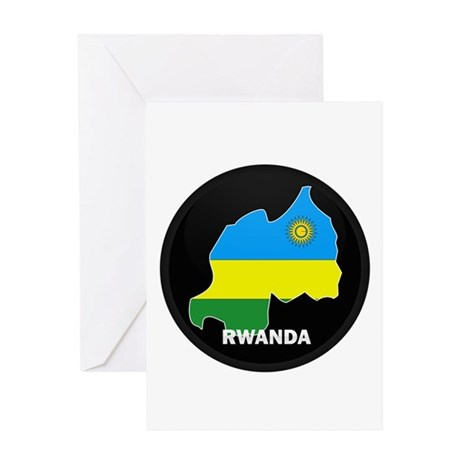 Flag Map of Rwanda Greeting Card