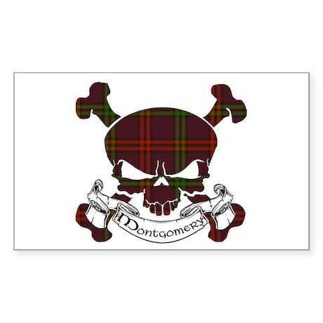 Montgomery Tartan Skull Sticker (Rectangle)