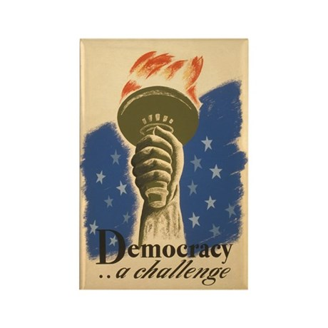 Democracy Torch Vintage Poste Rectangle Magnet