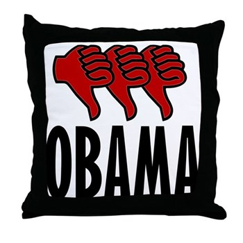 3 Thumbs Down Throw Pillow