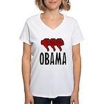 3 Thumbs Down Women's V-Neck T-Shirt