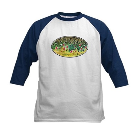 Brown Trout Fly Fishing Kids Baseball Jersey