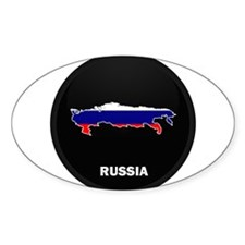 Flag Map of Russia Oval Decal