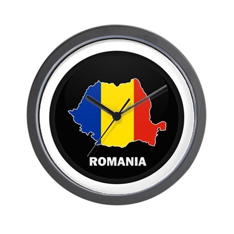 Flag Map of Romania Wall Clock