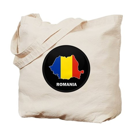 Flag Map of Romania Tote Bag