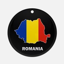 Flag Map of Romania Ornament (Round)