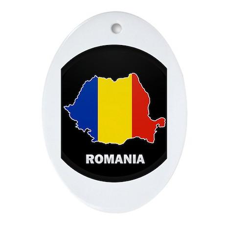 Flag Map of Romania Oval Ornament