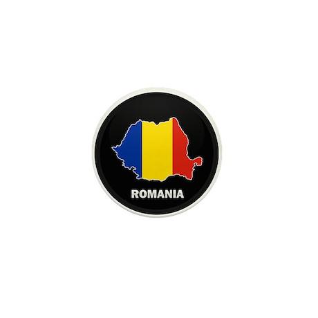 Flag Map of Romania Mini Button