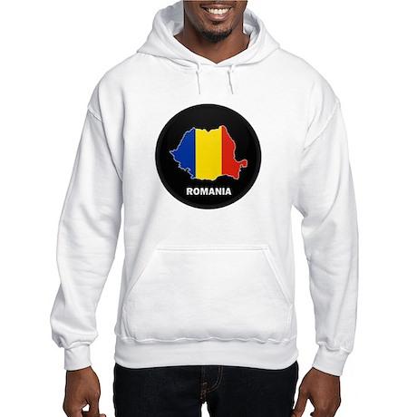 Flag Map of Romania Hooded Sweatshirt