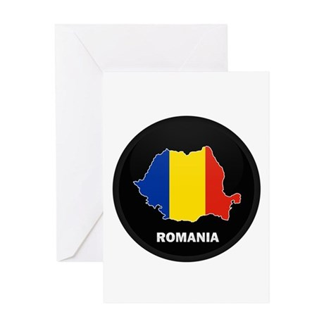 Flag Map of Romania Greeting Card