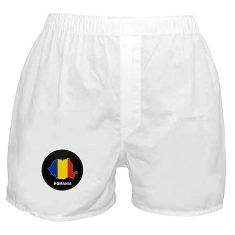 Flag Map of Romania Boxer Shorts