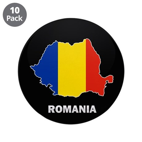 """Flag Map of Romania 3.5"""" Button (10 pack)"""