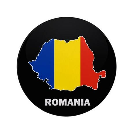 "Flag Map of Romania 3.5"" Button"