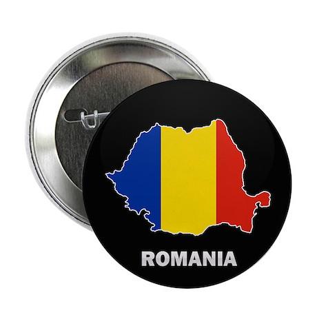 "Flag Map of Romania 2.25"" Button"