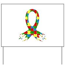 Frayed Puzzle Ribbon Yard Sign