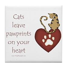 Cat Pawprints Tile Coaster