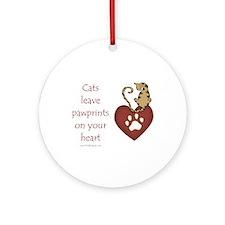 Cat Pawprints Ornament (Round)