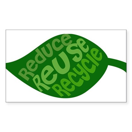 Reduce Reuse Recycle Rectangle Sticker