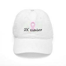 2X survivor pink ribbon Baseball Cap
