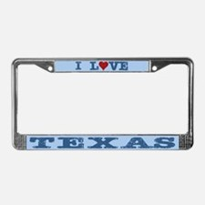I Love Texas License Plate Frame