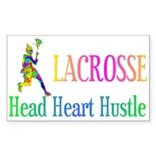 Lacrosse Head Heart Hustle Rectangle Decal