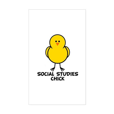 Social Studies Chick Rectangle Sticker