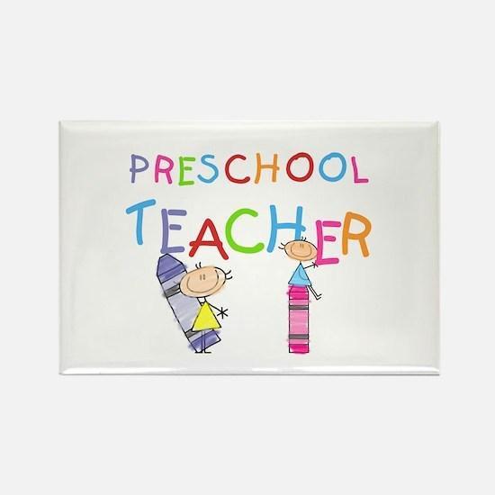 Crayons Preschool Teacher Rectangle Magnet (100 pa