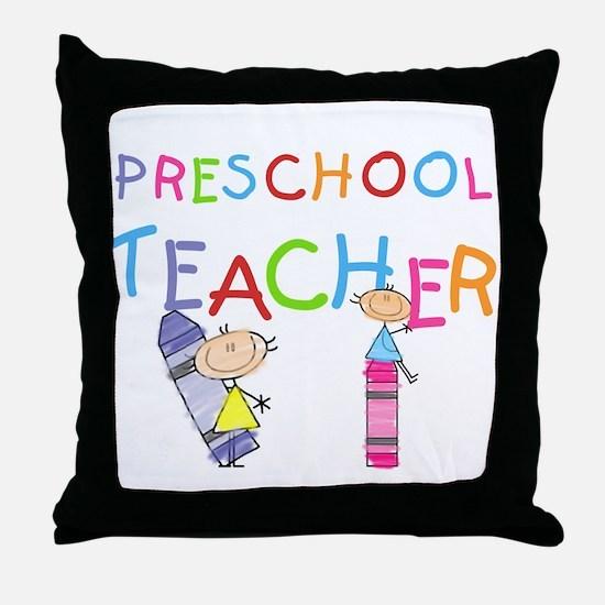 Crayons Preschool Teacher Throw Pillow