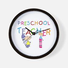 Crayons Preschool Teacher Wall Clock