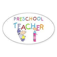 Crayons Preschool Teacher Oval Decal
