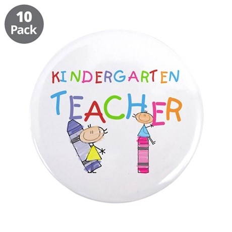 "Crayons Kindergarten Teacher 3.5"" Button (10 pack)"