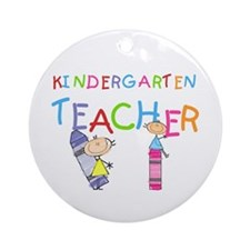 Crayons Kindergarten Teacher Ornament (Round)