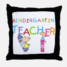 Crayons Kindergarten Teacher Throw Pillow