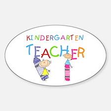 Crayons Kindergarten Teacher Oval Decal