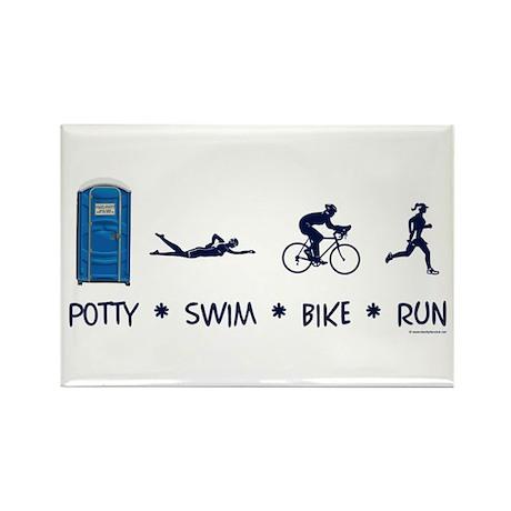Women's Potty Swim Bike Run Rectangle Magnet