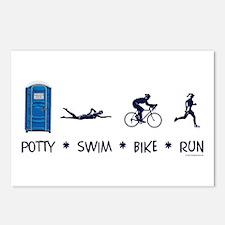 Women's Potty Swim Bike Run Postcards (Package of