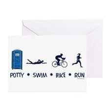 Women's Potty Swim Bike Run Greeting Cards (Pk of