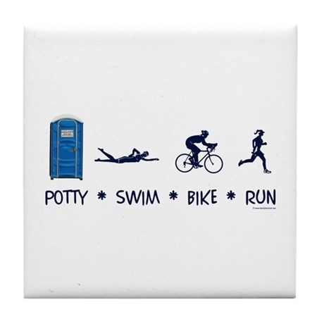 Women's Potty Swim Bike Run Tile Coaster