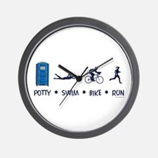 Women's Potty Swim Bike Run Wall Clock