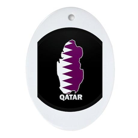 Flag Map of Qatar Oval Ornament