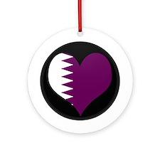 I love Qatar Flag Ornament (Round)