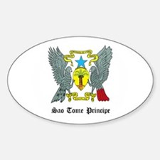 Sao Tomean Coat of Arms Seal Oval Decal
