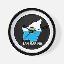 Flag Map of San Marino Wall Clock